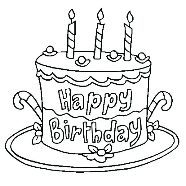600x600 Coloring Page Birthday Cake Birthday Party Coloring Page Coloring