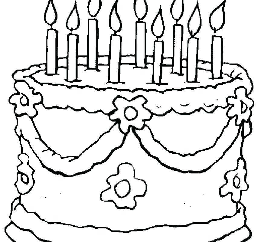 863x800 Coloring Pages Birthday Cake With Candle Preschool For Kids Page