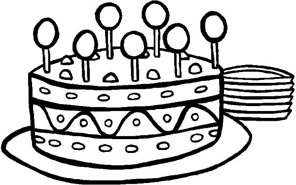 600x375 Sweet Lollipop On Birthday Cake Coloring Pages