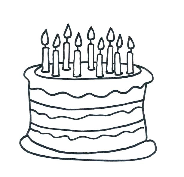 612x588 Birthday Cake Coloring Page