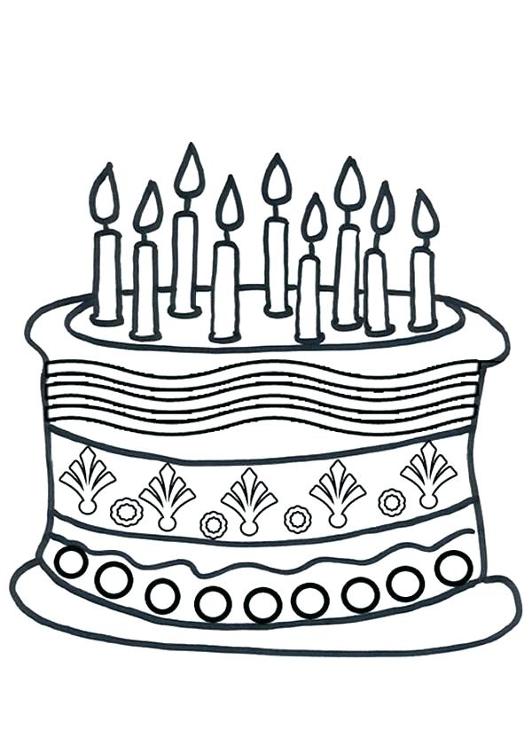 600x850 Birthday Cakes Coloring Pages