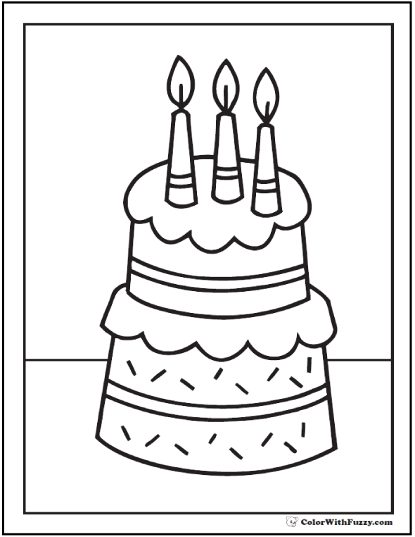 Birthday Cake Coloring Page Printable