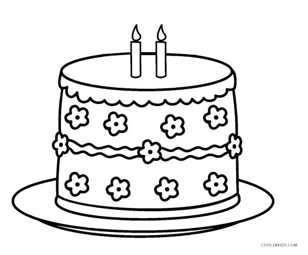 604x500 Birthday Cake Coloring Page With Medium Size Of Birthday Cake