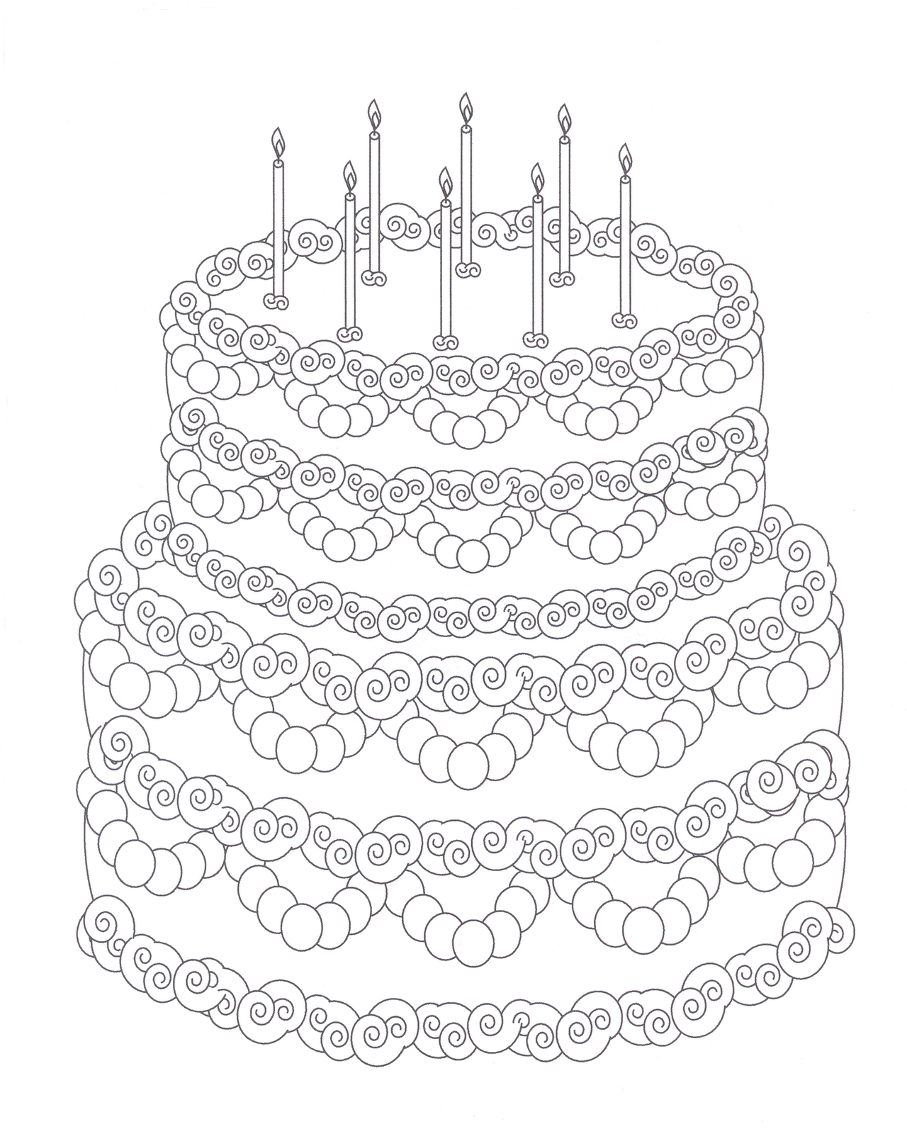 1280x1600 Birthday Cake Coloring Pages