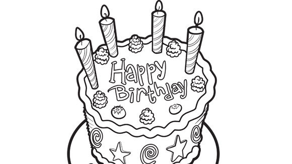 580x326 Birthday Cake Coloring Pages Printable Best Happy Birthday Wishes