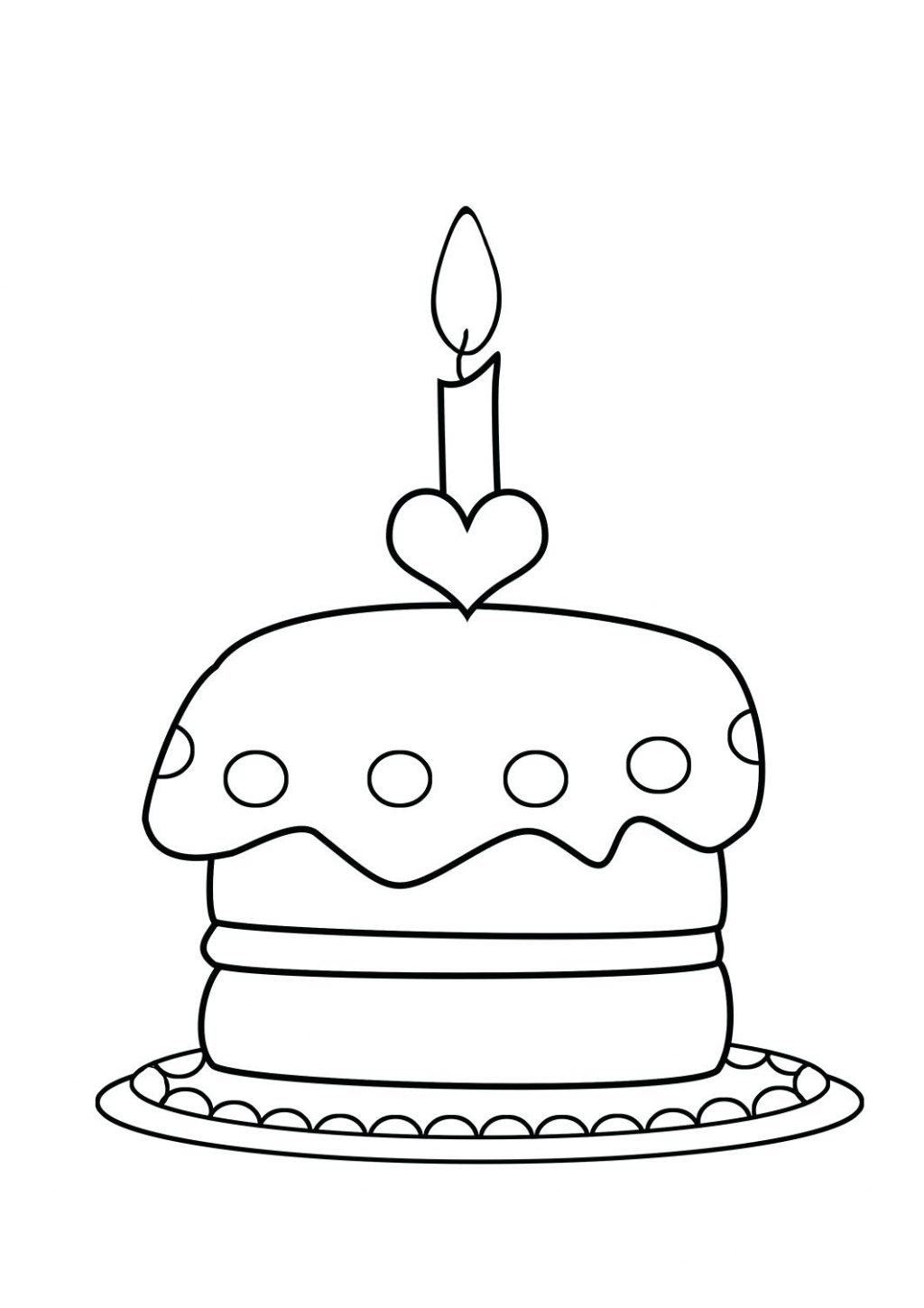 1024x1449 Awesome Coloring Pages Birthday Cake Page Free Printable