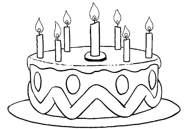 600x421 Blank Birthday Cake Coloring Page Birthday Cake Coloring Page S