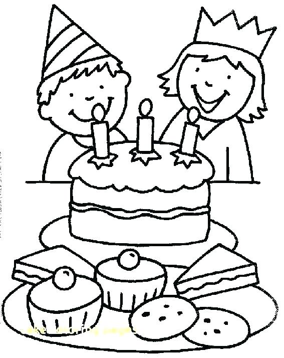 567x714 Coloring Page Birthday Cake Birthday Party Coloring Pages Birthday