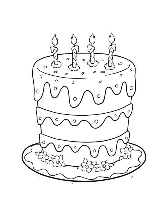 580x750 Coloring Page Cake Birthday Cake Coloring Pages Birthday Cake
