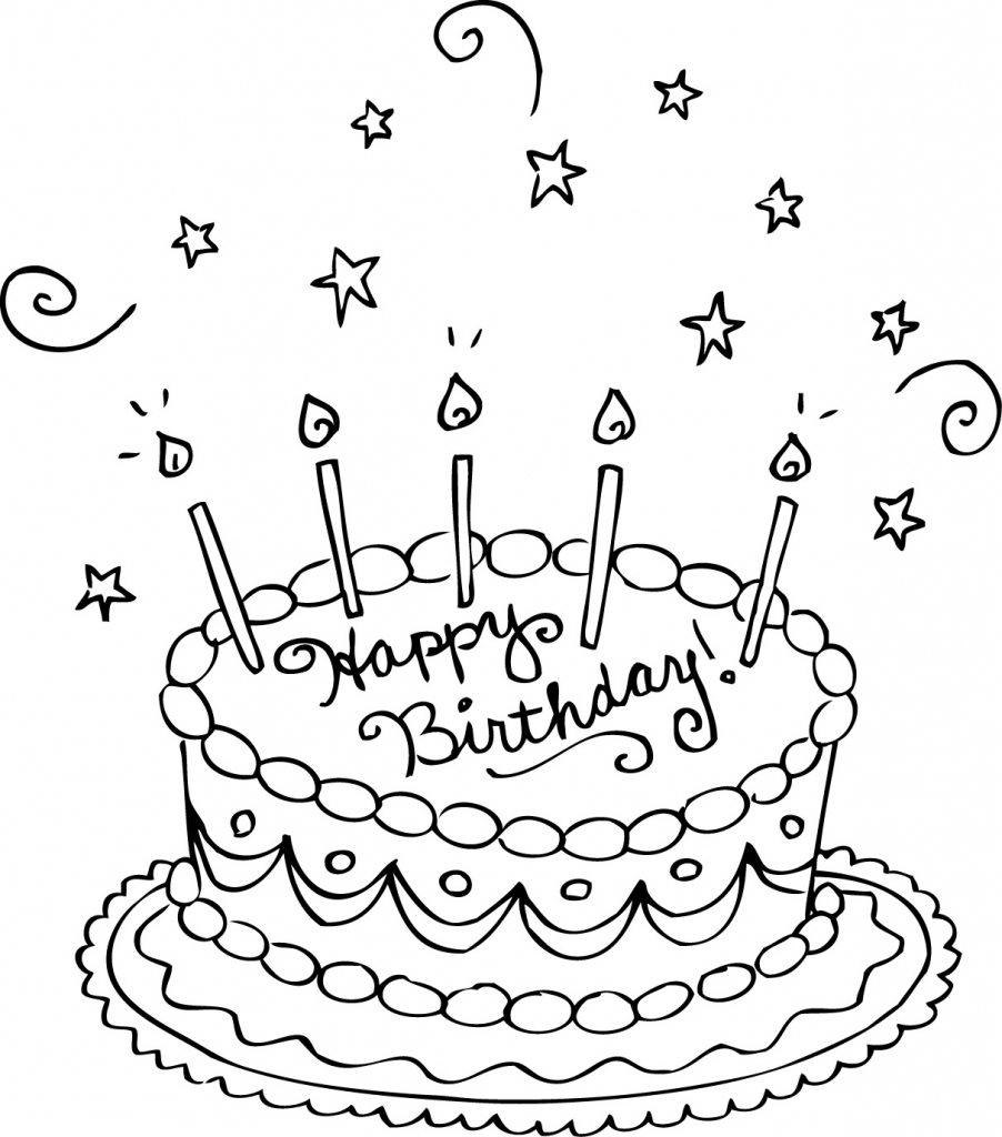 902x1024 Free Printable Birthday Cake Coloring Pages For Kids Inside