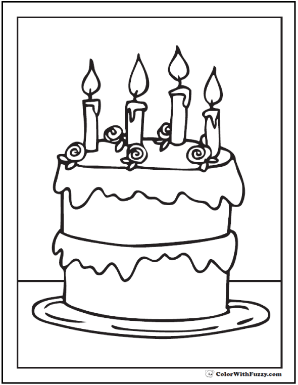 590x762 Add Candles To The Birthday Cake Coloring Page Birthday Cake