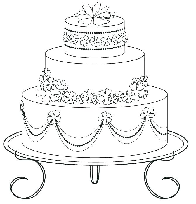671x699 Birthday Cake Coloring Page
