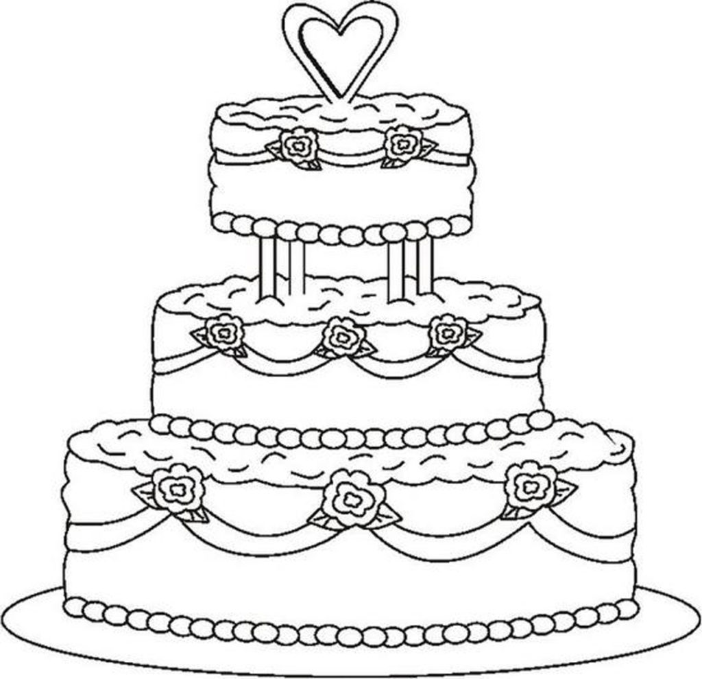 1024x990 Birthday Cake Coloring Page