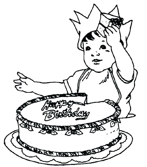 600x682 Birthday Cake Coloring Pages Preschool Printable Page