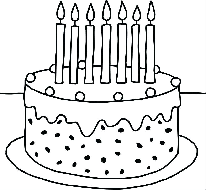 863x796 Birthday Cakes Coloring Pages Birthday Cake Pictures To Color