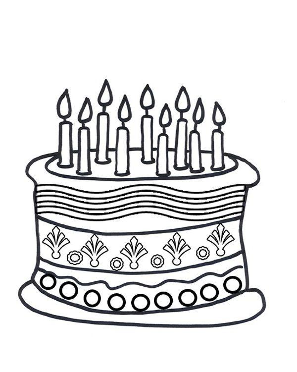 600x751 Birthday Cake Color Page Preschool Printable