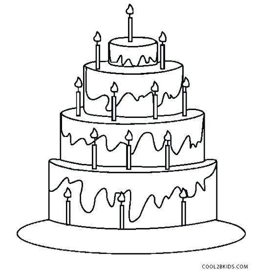 524x560 Coloring Page Cake Decorating Birthday Pages On Birthday Cake