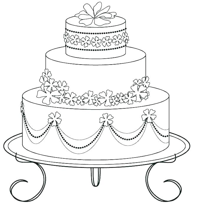 671x699 Coloring Pages Birthday Cake Birthday Cake Color Page Coloring