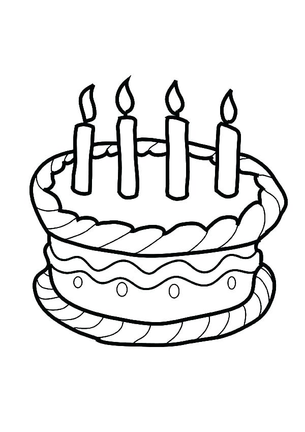 600x849 Coloring Pages Of Birthday Cakes Birthday Cake Coloring Pictures