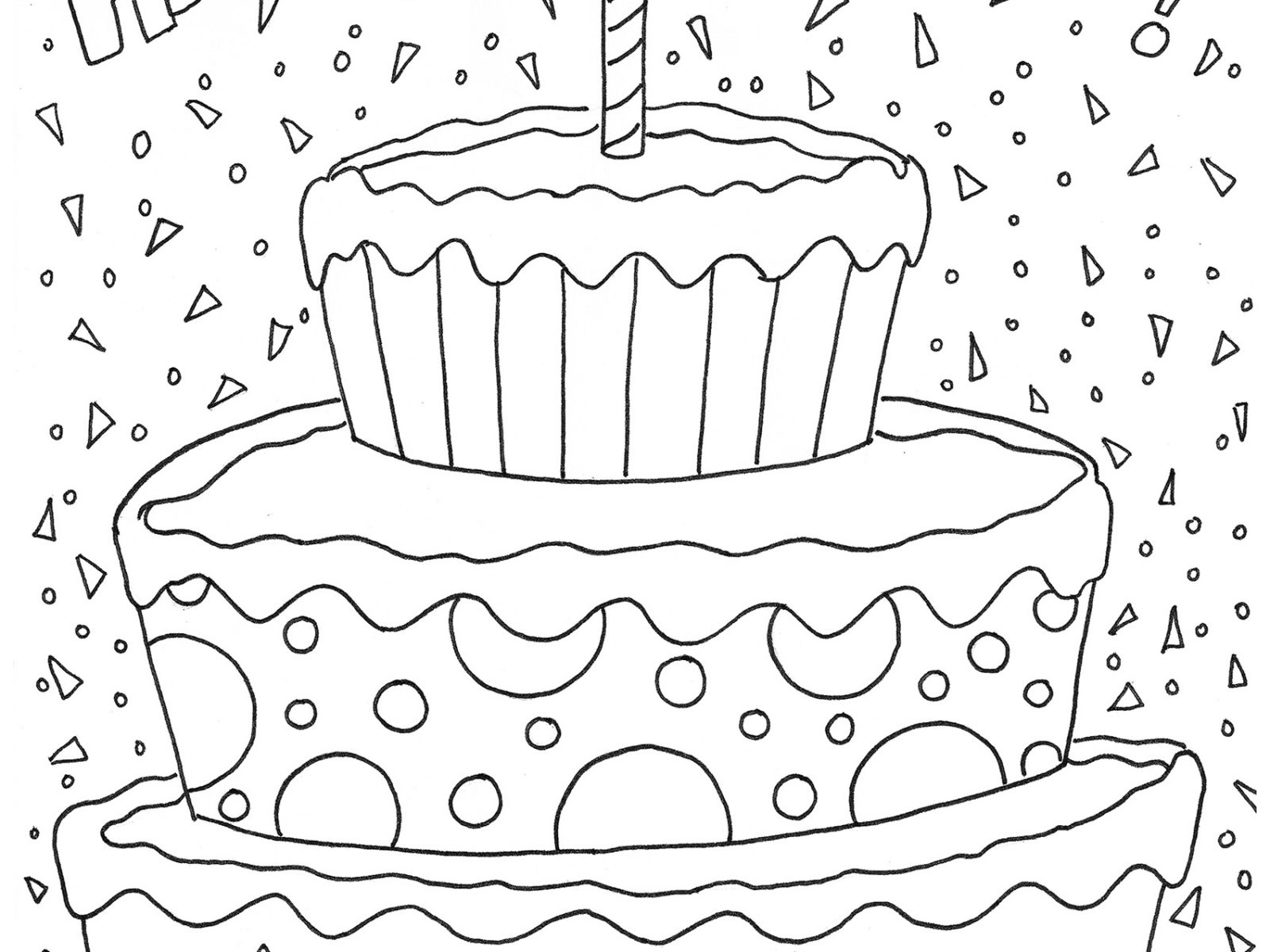 1600x1200 Happy Birthday Cake Coloring Page For Kids Holiday Img Amazing