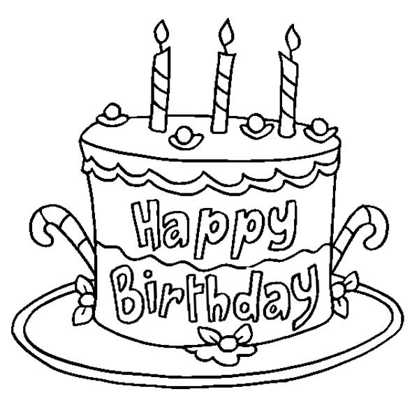 600x600 Happy Birthday Coloring Pages Cake Coloring Pages