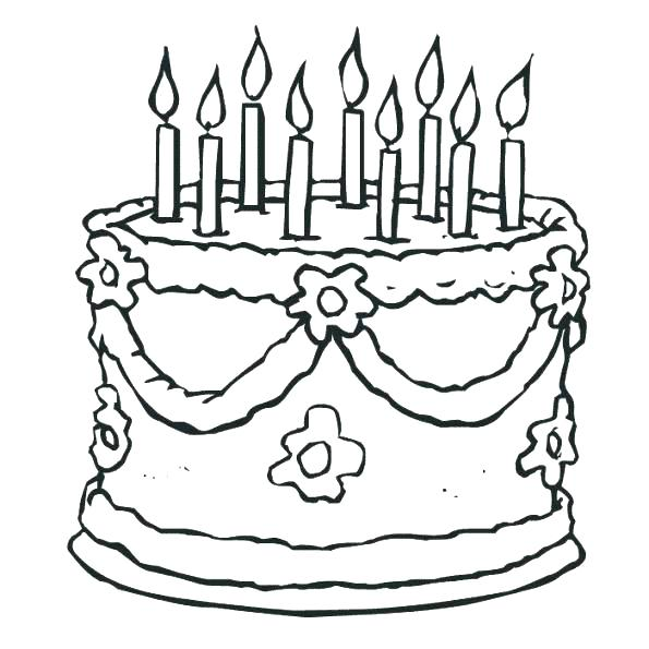 595x595 Birthday Cake Coloring Page Cake Coloring Pages Birthday Cake