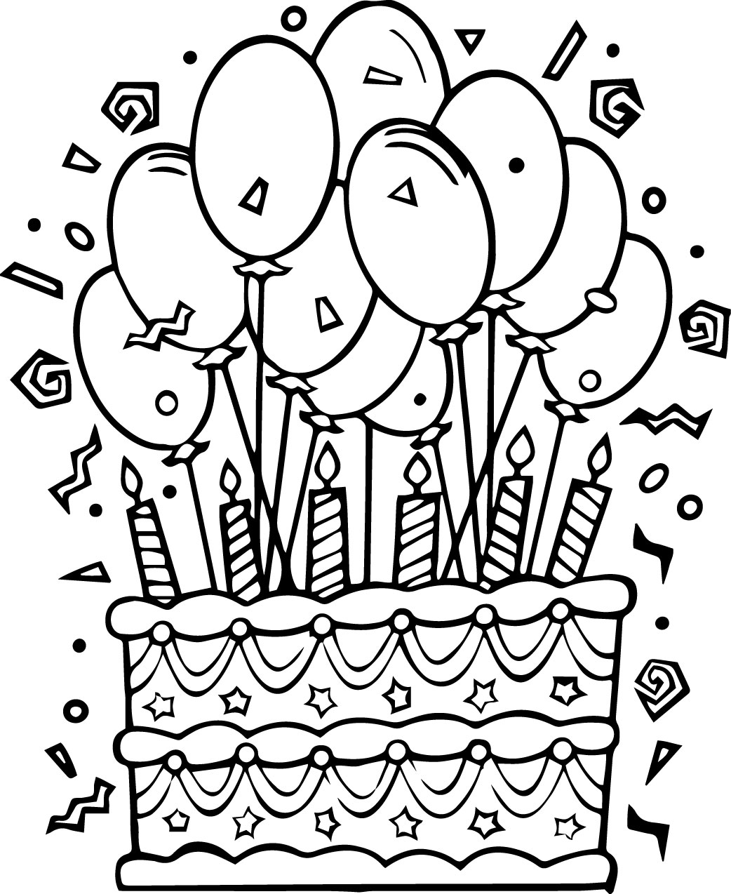 1042x1274 Nice Idea Birthday Cake Coloring Page Pages Printable To Print