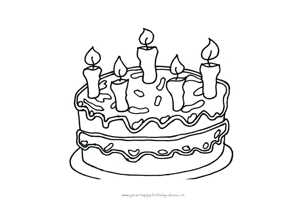 1043x737 Birthday Cake Coloring Pages Free