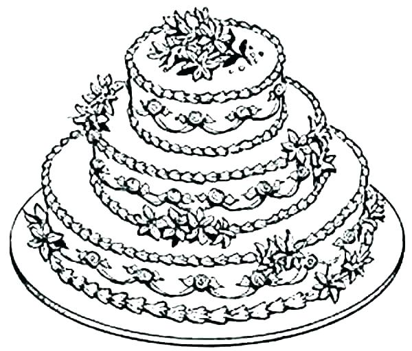 600x512 Coloring Page Of A Birthday Cake Professional