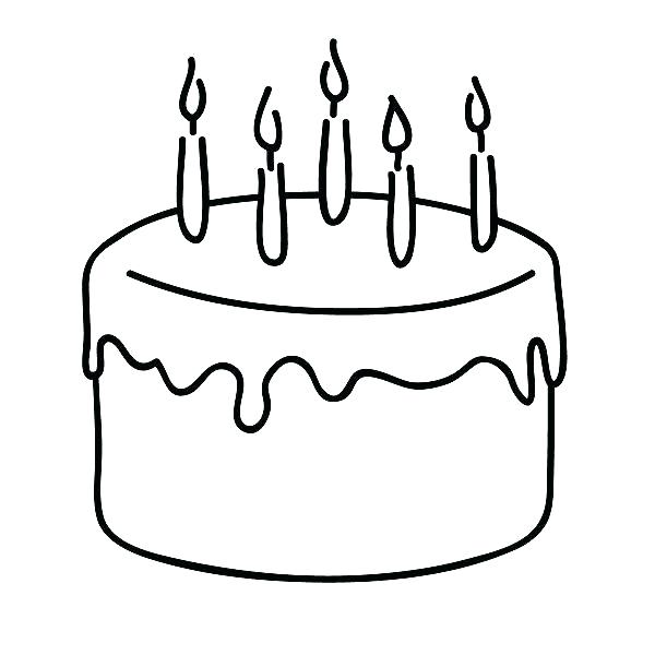 600x600 Birthday Cake Coloring Page S Pages Preschool Happy Sheet