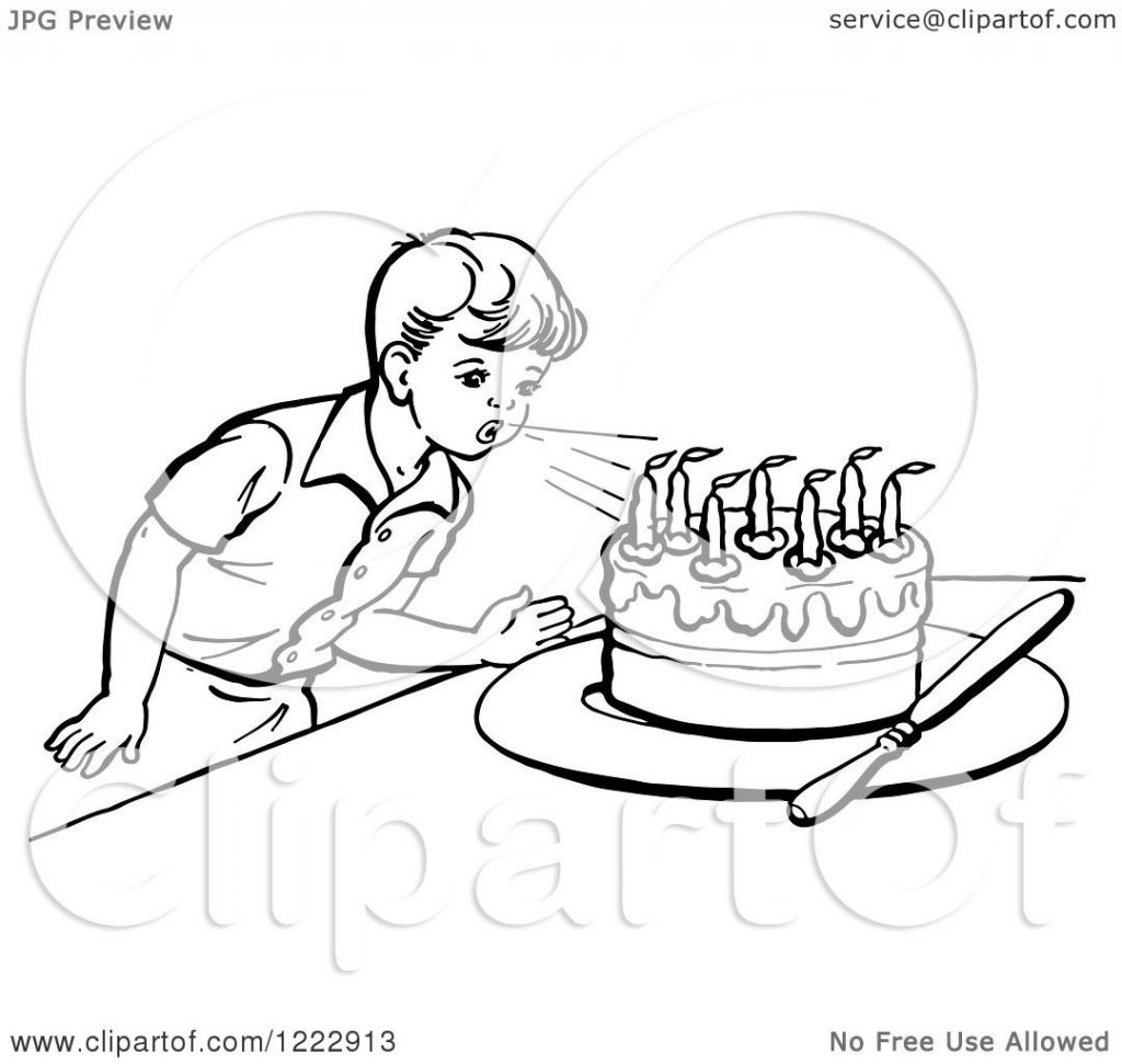 1024x971 Stunning Blowing Candles Coloring Page For Kids Free Sheets