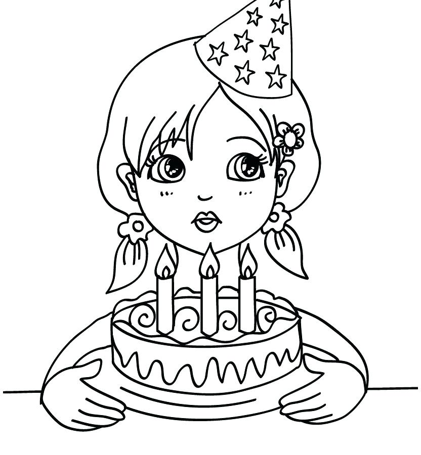 832x900 Birthday Candle Coloring Page