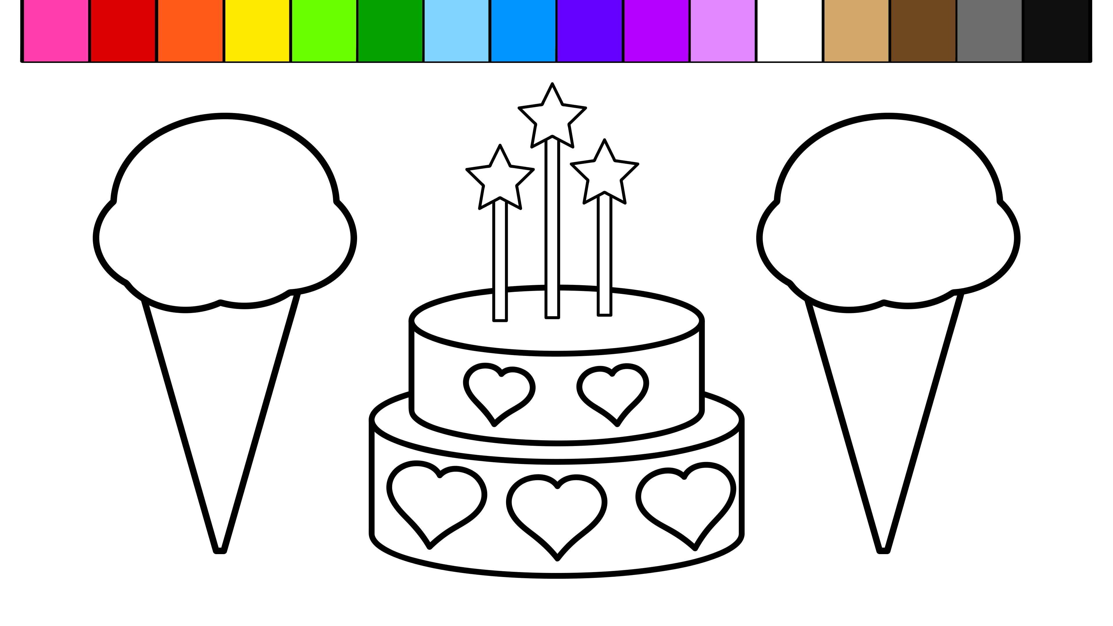 3840x2160 Birthday Candle Coloring Page Fresh Color Ice Cream Heart Birthday