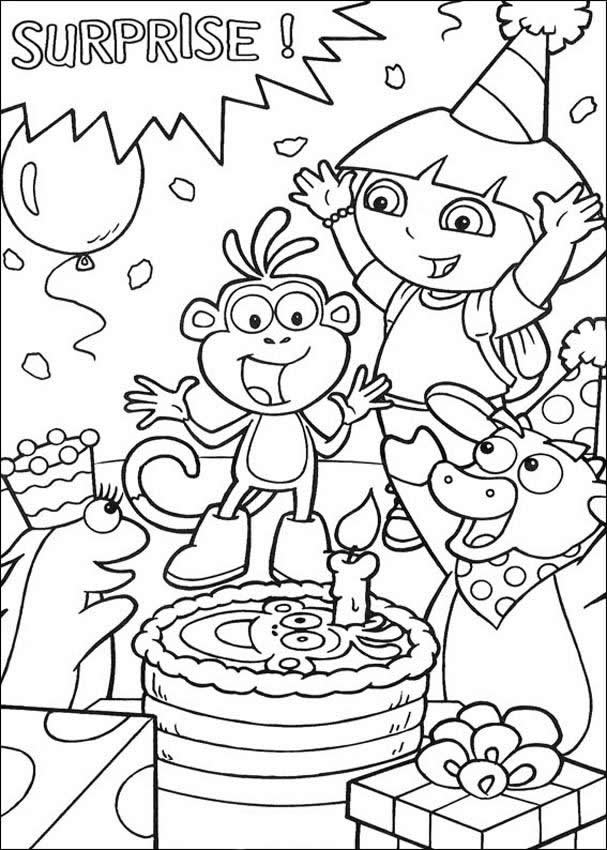 607x850 Free Printable Happy Birthday Coloring Pages For Kids