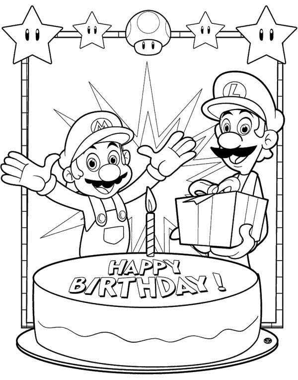 600x764 Super Mario Bros Birthday Cards Coloring Page Funny Shyte