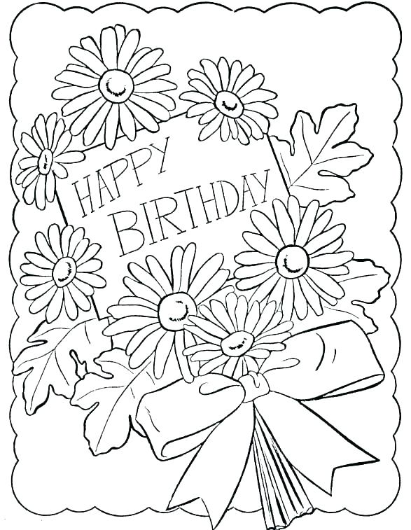 587x757 Birthday Card Coloring Page Icontent