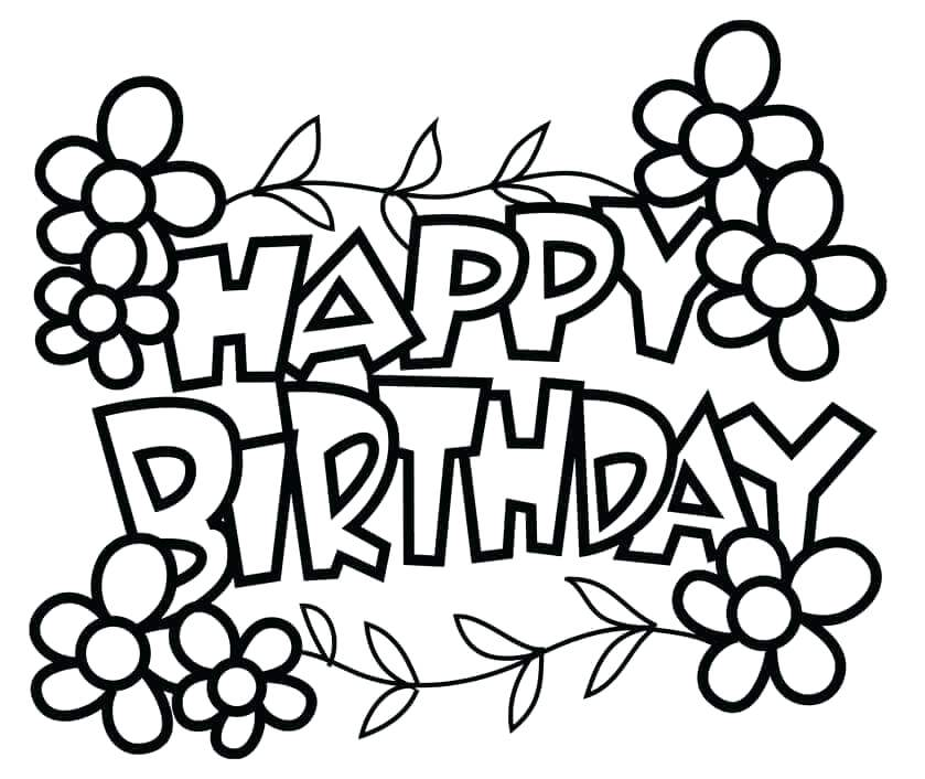 839x706 Free Printable Happy Birthday Coloring Pages Birthday Coloring