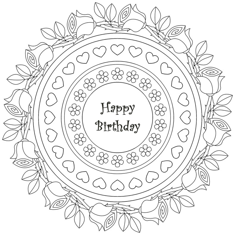790x790 Mandala Happy Birthday Adult Colouring In Printables