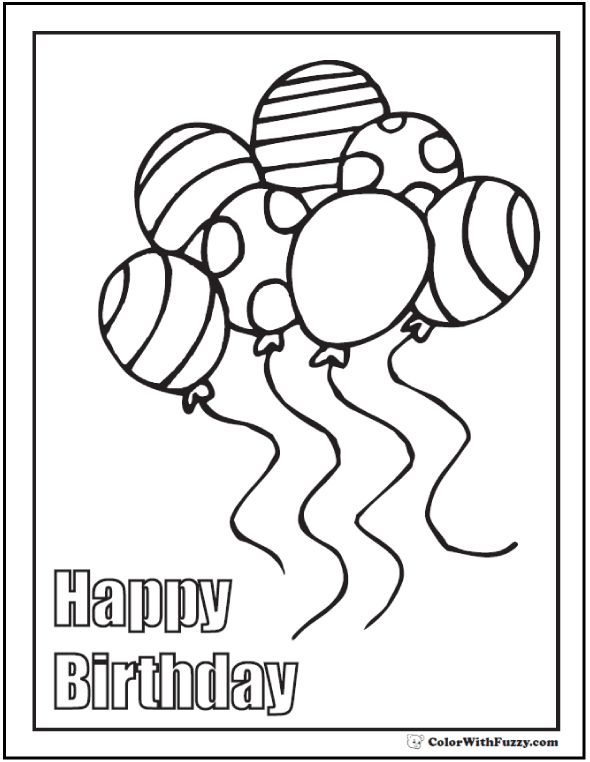 590x762 Printable Birthday Coloring Pages Birthday Coloring Pages