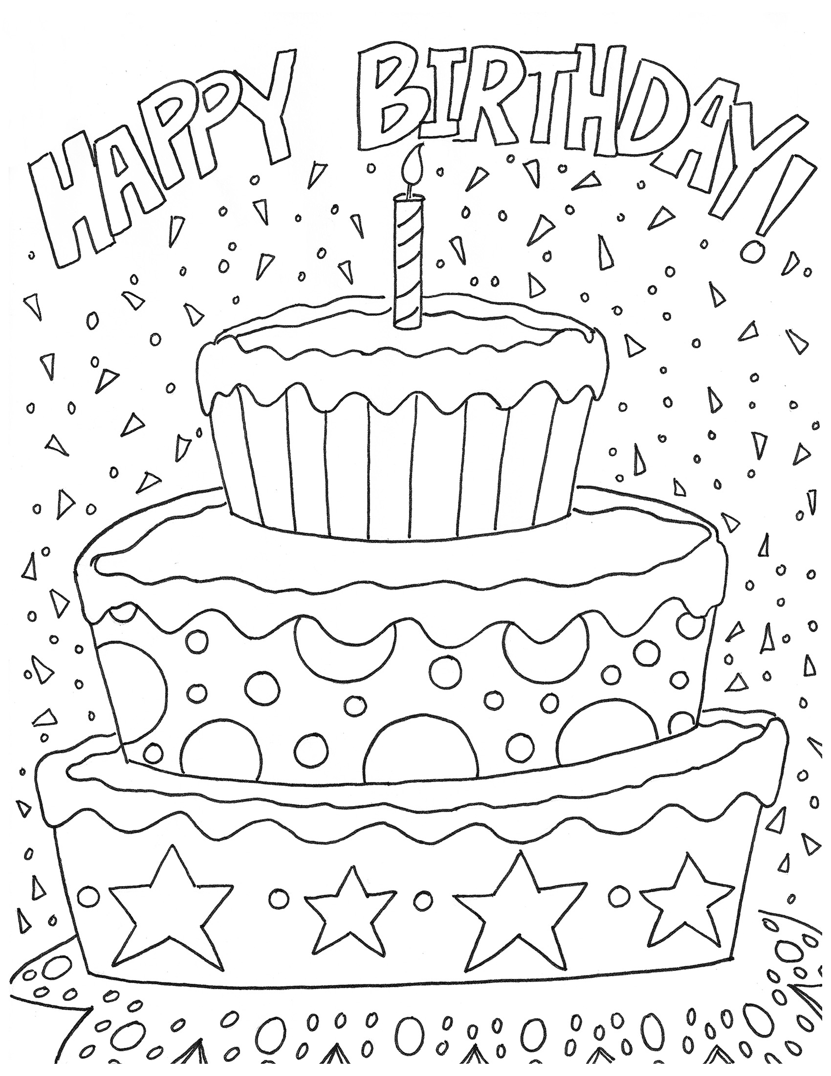 1700x2200 Free Printable Happy Birthday Coloring Pages Printable