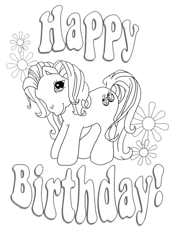 583x755 Happy Birthday My Little Pony Coloring Page Free For Kids Fun