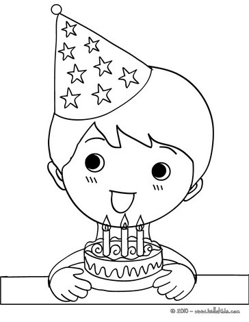 364x470 Boy Eating A Birthday Cake Coloring Pages