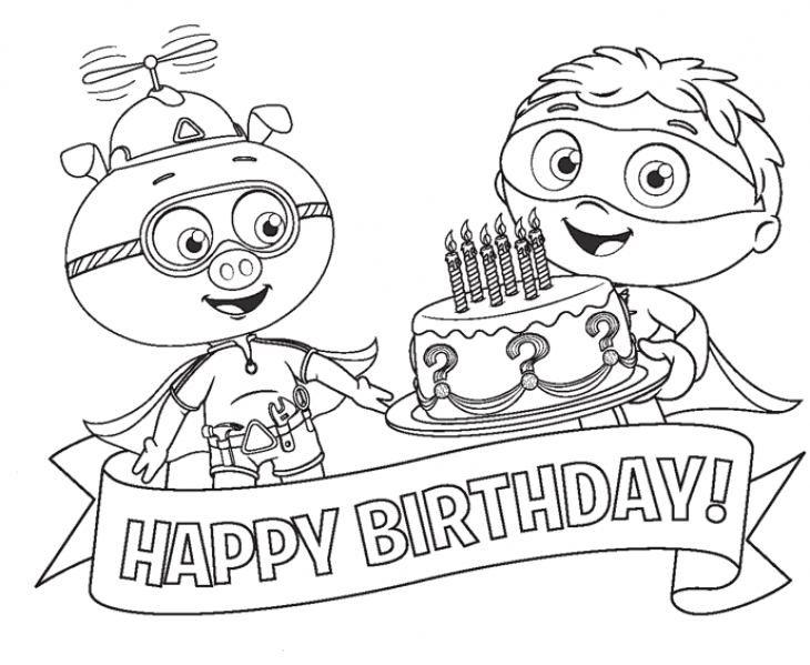 730x599 Alpha Pig And Super Why Happy Birthday Coloring Page To Print