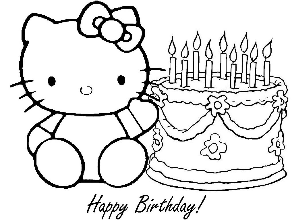 1017x765 Coloring Page Of Hello Kitty Pertaining To Birthday Pages Idea