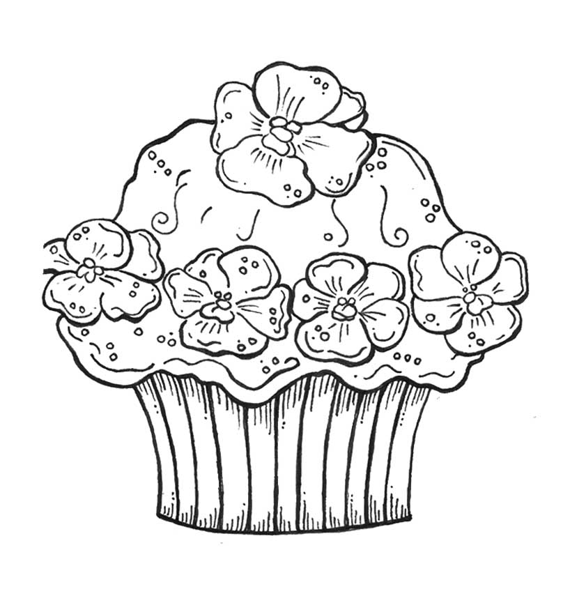 818x855 Cute Cupcake Coloring Pages