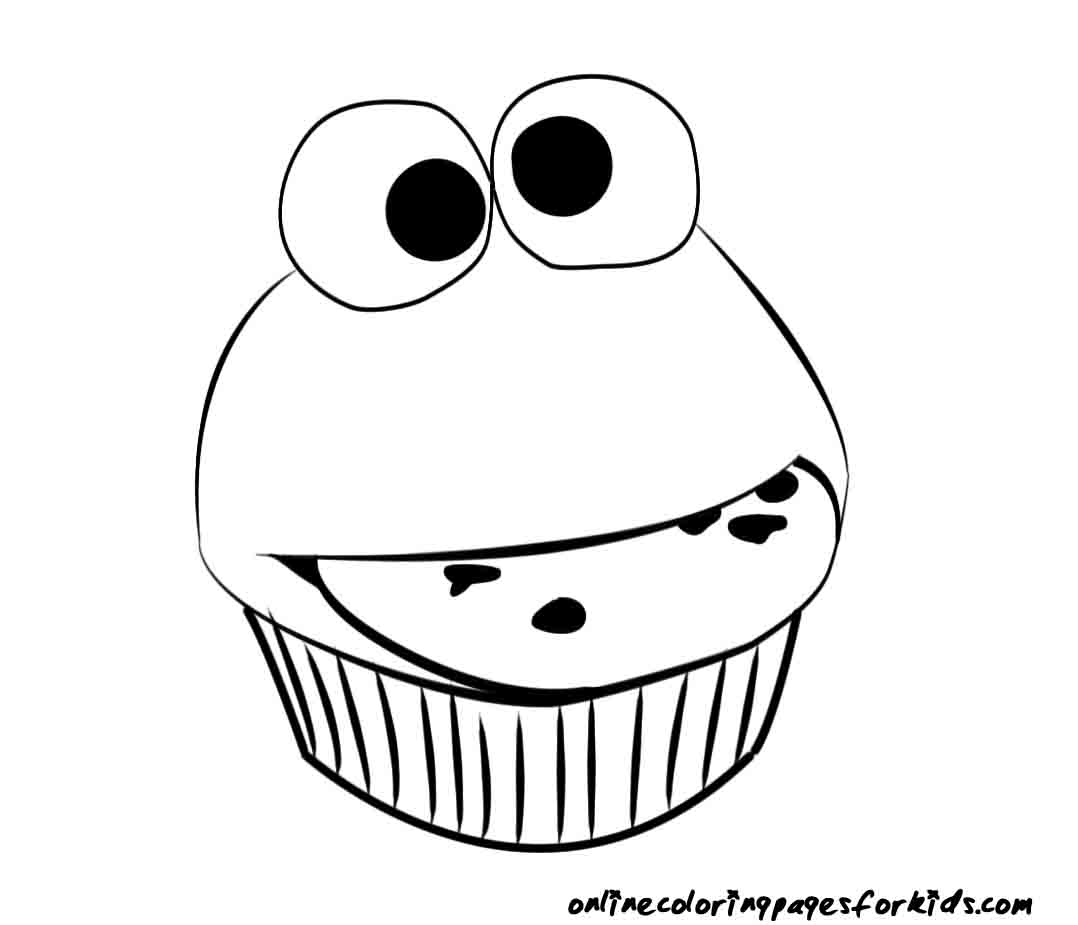 1078x925 Birthday Cupcake Coloring Page