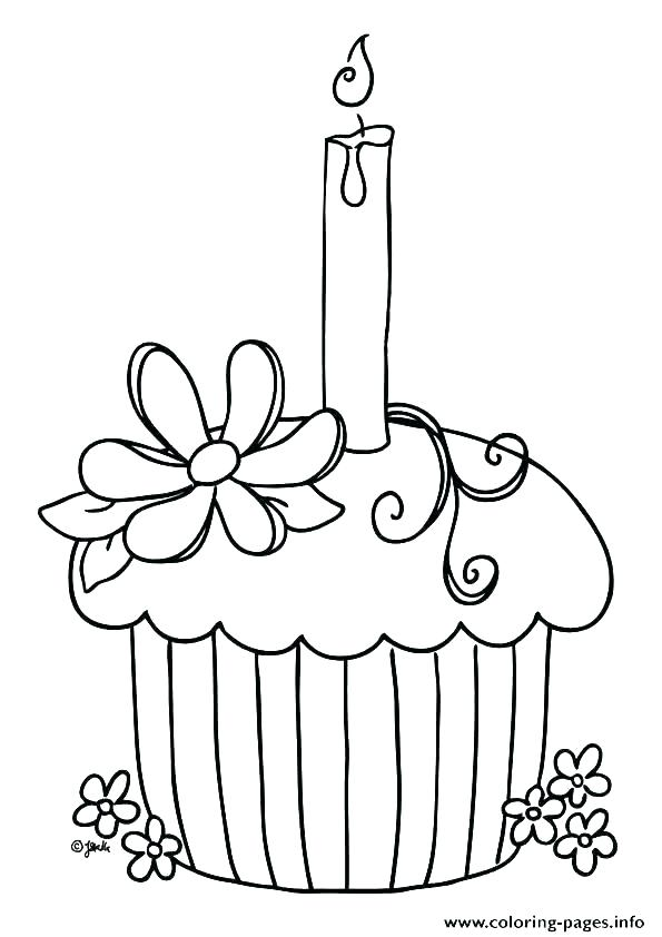 595x842 Simple Cupcake With Swirling Icing On Top Coloring Pages