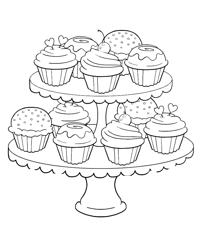 700x834 Birthday Cupcake Steady And Delicious Coloring Page