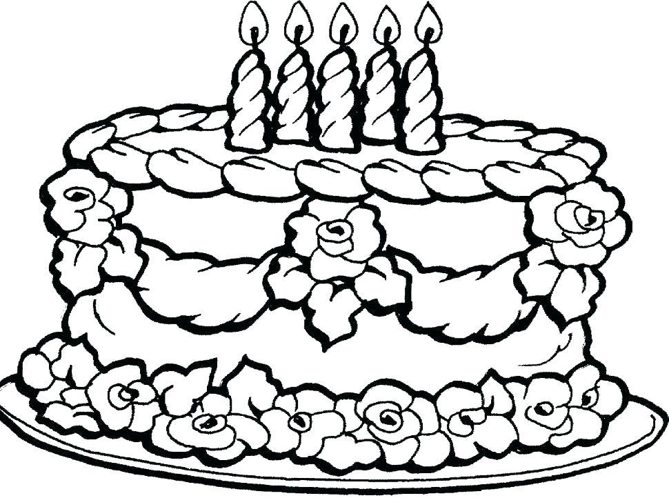 970x722 Coloring Page Cake Printable Birthday Cake Coloring Page Birthday