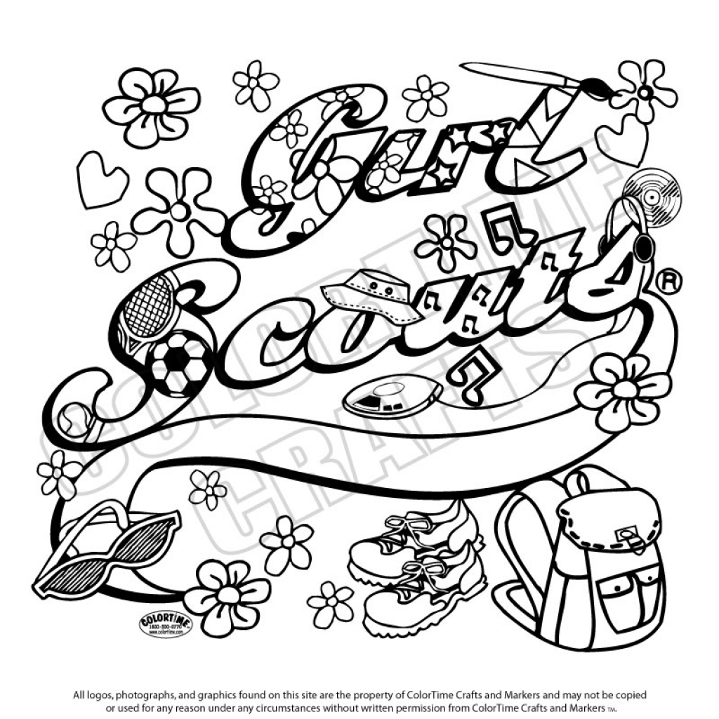 1024x1024 Improved Girl Scout Birthday Coloring Pages Promise Printable Page